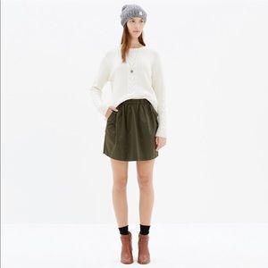 Madewell Satin Hunter Green Mini Skirt
